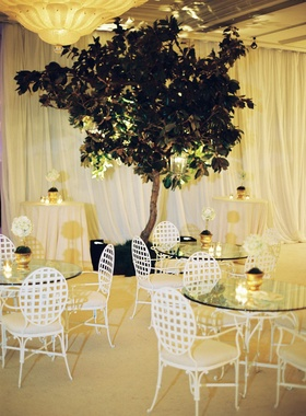 Ballroom cocktail hour with glass table and magnolia tree