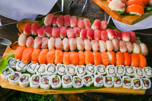 sushi and sashimi served at wedding