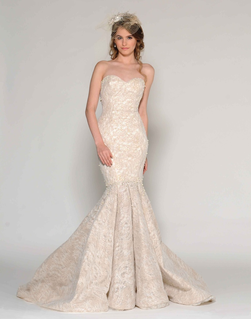 galina by eugenia couture fall galina wedding dresses Eugenia Couture Fall strapless mermaid wedding dress in two tone lace