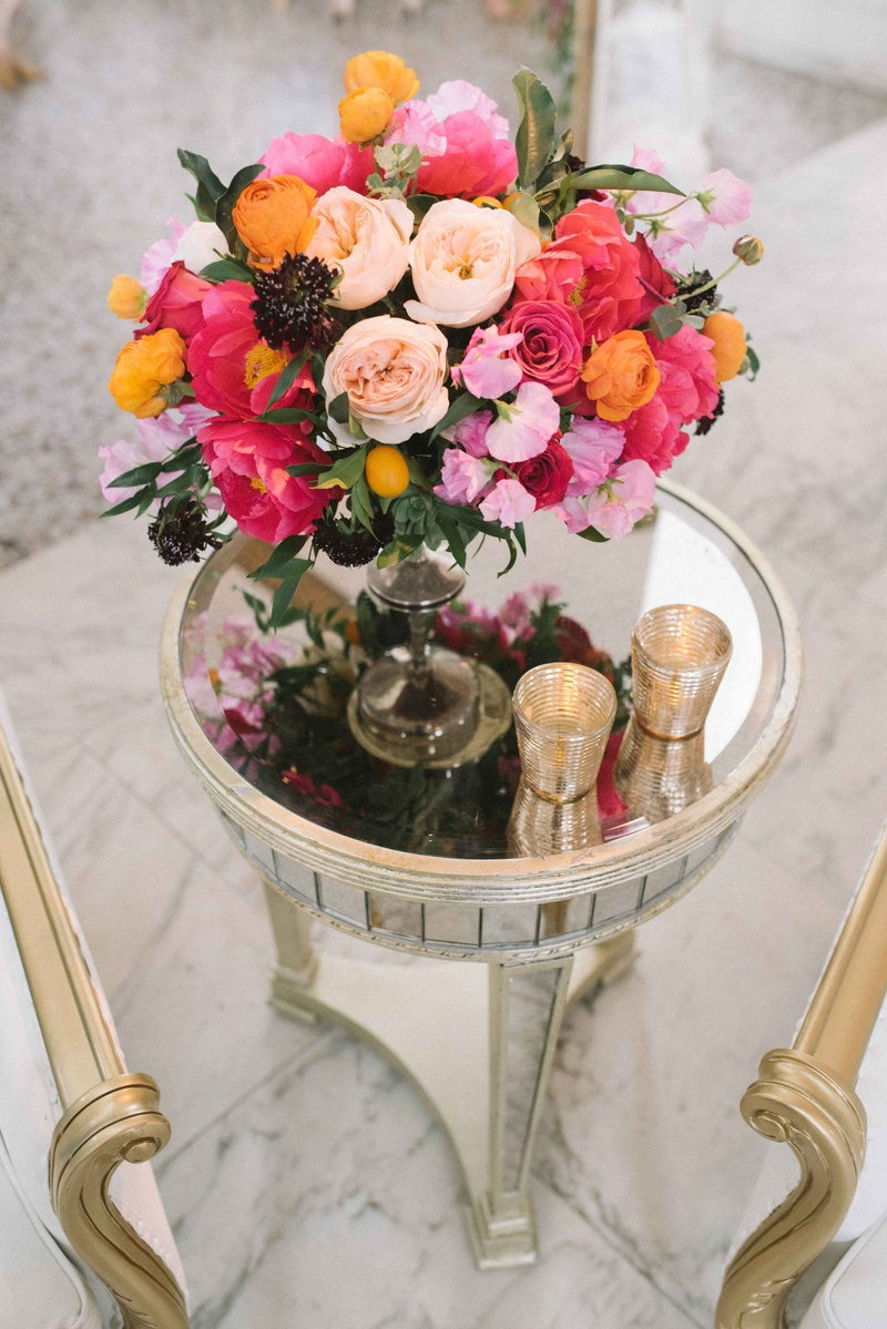 small bold side table arrangement color palette lounge area wedding reception