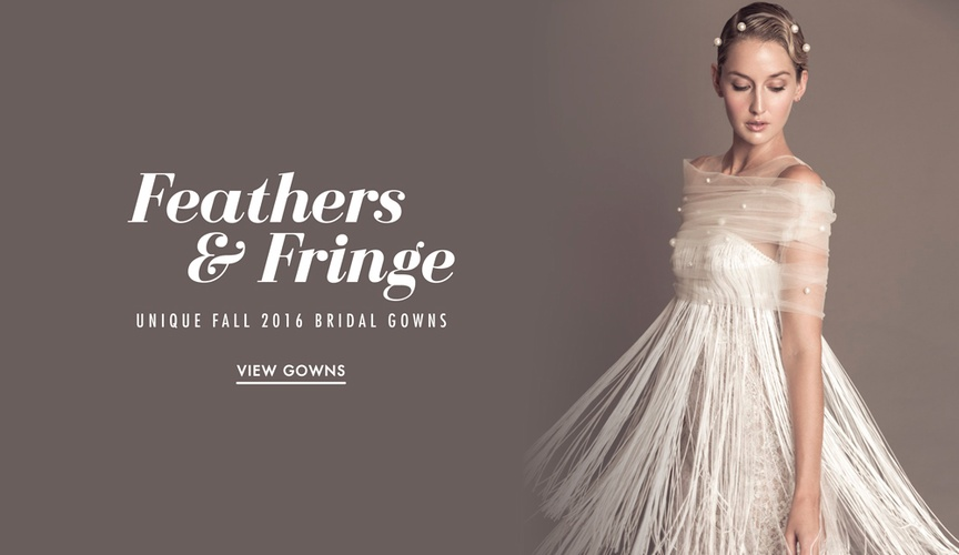 Unique wedding dresses with feather and fringe details