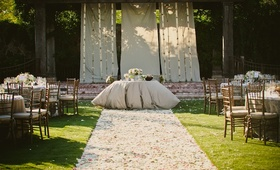 Ceremony site transformed into reception decor