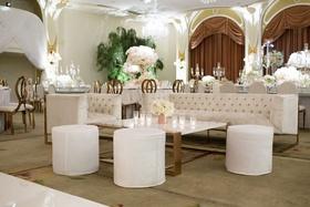 Revelry event designers furniture lounge area at wedding reception by dance floor ballroom wedding