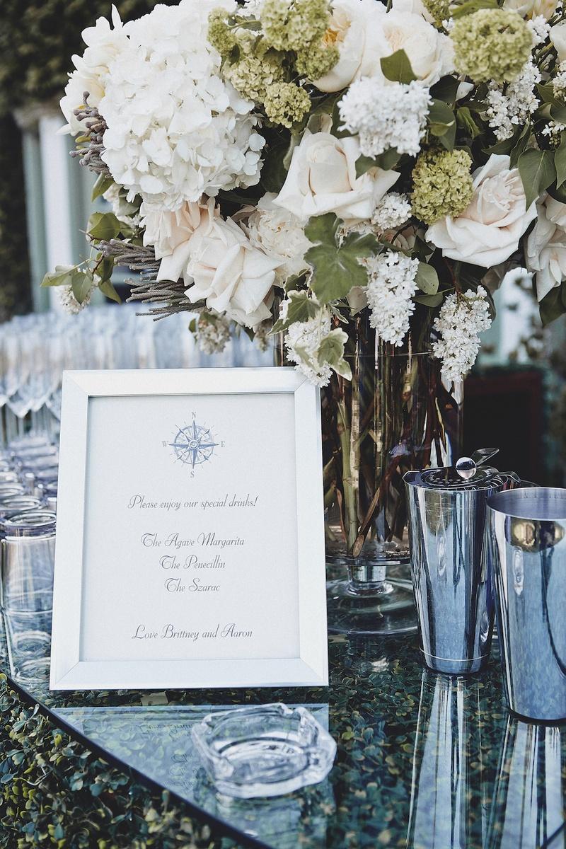 Brittney Palmer's signature drinks menu in frame