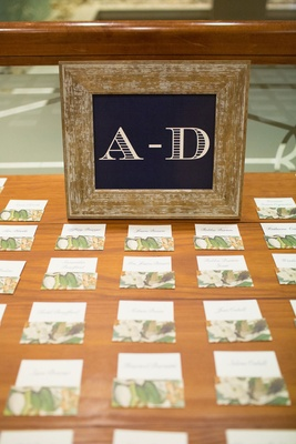 Alphabetical sign navy white in wood frame with magnolia print escort cards at wedding reception