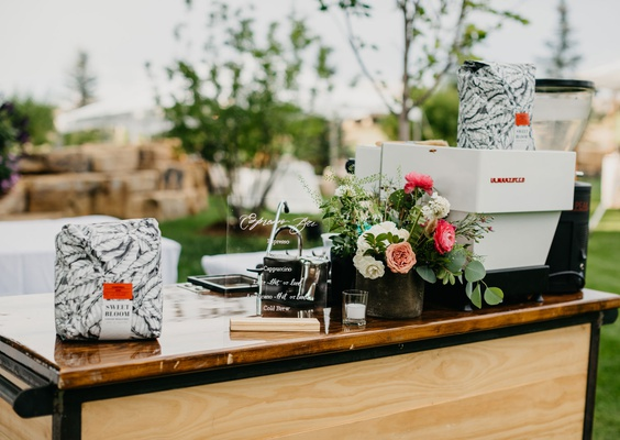 wedding reception espresso cart garden decor pink flower coffee at reception