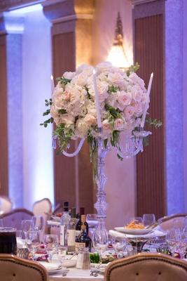 Wedding reception centerpiece candelabra candles pink rose white hydrangea greenery amaranthus