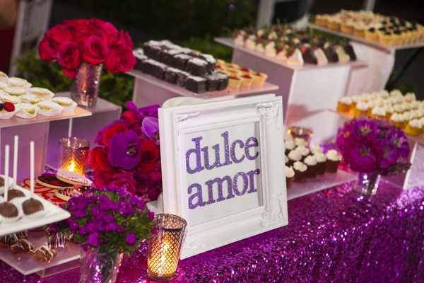 Purple sequin linens with glitter Dulce Amor sign in frame