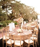 Gold sequin table linens at outdoor wedding reception