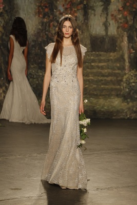 """champagne """"hermione"""" beaded dress with flutter sleeves by jenny packham"""
