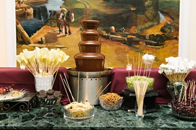 Chocolate fountain with Oreo cookies, pretzels, grapes, marshmallows, cherries, pineapple fruit