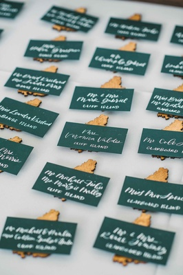 island themed escort cards green calligraphy gold maine islands wedding east coast creative ideas