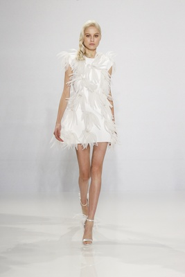 Christian Siriano for Kleinfeld Bridal mini wedding dress with feather appliques minidress