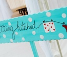 Polka dot wedding ceremony sign