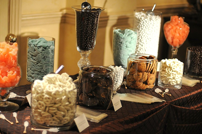 Sweet treats in glass jars and vessels