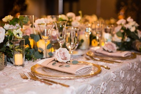 wedding reception texture flower applique linen blush gold rim charger low centerpiece pink rose