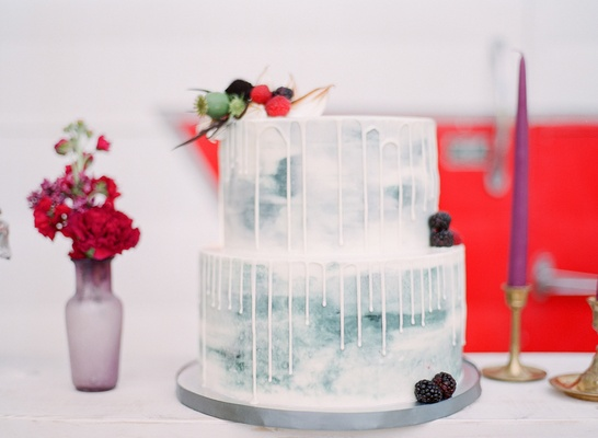 blue gray grey drip cake fresh fruits california boho chic wedding styled shoot dessert trendy yum