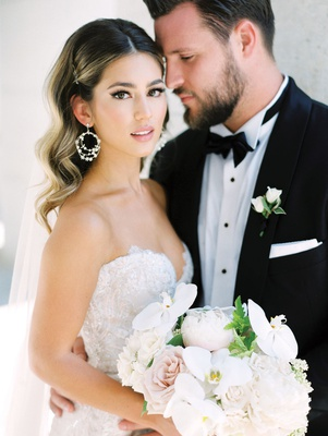 detroit lions tackle taylor decker wedding to bryn toyama in berta bridal gown