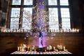 wedding reception historic hall hotel cherry blossom flower arrangement tea lights candles glass