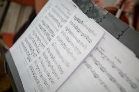 Wedding reception or ceremony musician corner music sheet music on stand at wedding ceremony