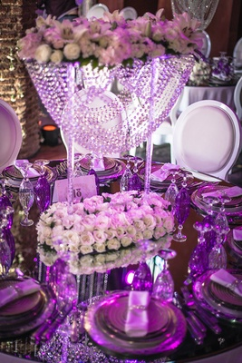 reflective tablescape purple lighting uplighting opulent wedding reception crystals lavish morocco