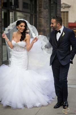 Jomanna and Emil are just having fun on their wedding day in Chicago.