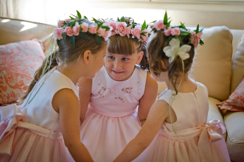 Flower girls with rose floral crowns and embroidery