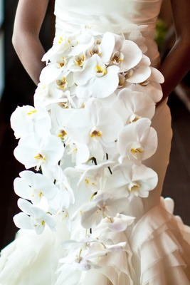 Cascading bouquet of white phalaenopsis orchids