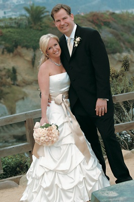 Pick-up wedding dress with tan sash