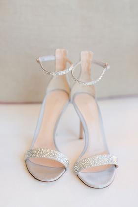 Barbie Blank wedding shoes rhinestones sandals high heels bridal silver grey