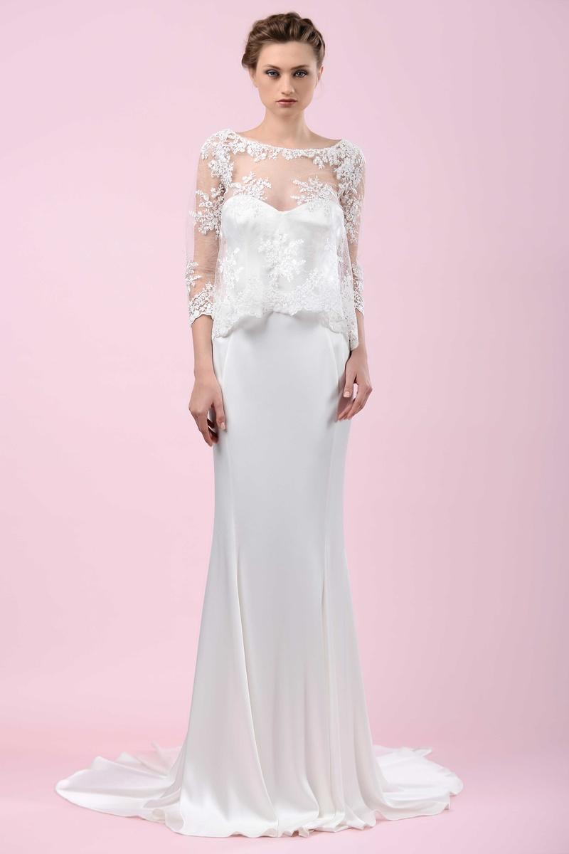 703207a85d9 Gemy Maalouf 2016 sheath wedding dress with three-quarter sleeve lace sheer  shirt