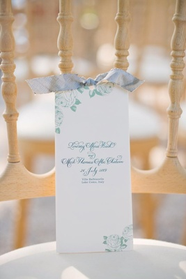 Blue and green vintage-inspired wedding program