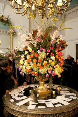 Vibrant floral arrangement at cocktail hour