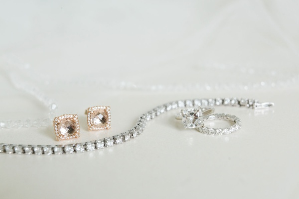 morgonite halo earrings set in rose gold, tennis bracelet, cushion-cut solitaire engagement ring