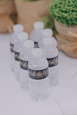 Mini water bottles with initials and wedding date