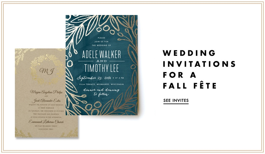 Fall wedding invitations with festive autumn themes