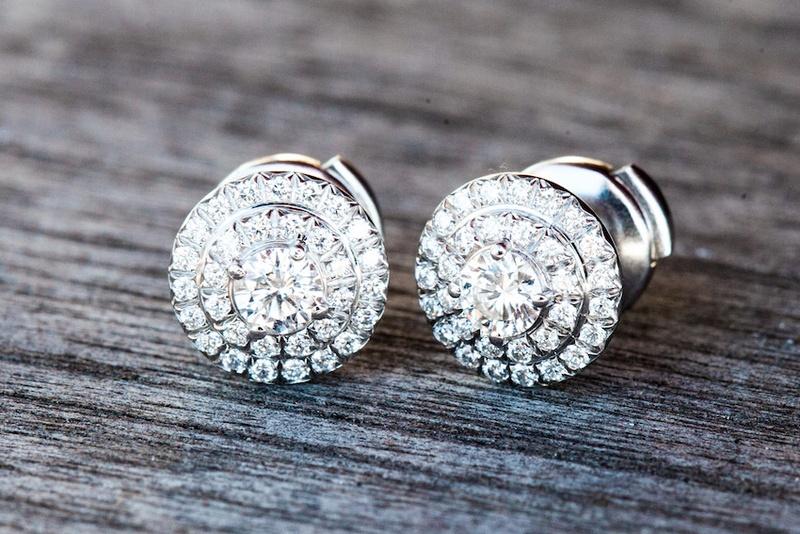 Bride's Tiffany & Co. pave diamond earrings