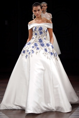 Naeem Khan off the shoulder ball gown with blue flower print and silver embroidery pockets ball gown
