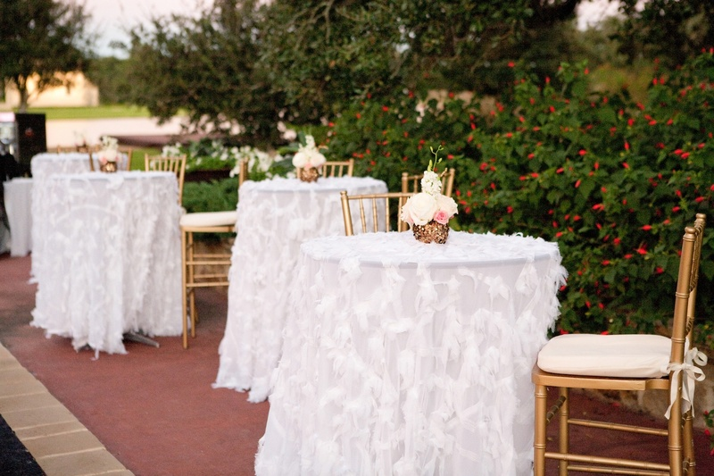 White Cocktail Table Linens With Feather Appliques