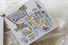 hand drawn map of palm beach venue