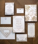 White silver and gold wedding invitation suite with Art Deco old New york influences Ceci New York