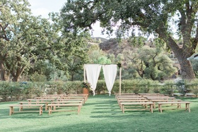 rustic ranch ceremony site southern california winter wedding styled shoot brookview ranch boho