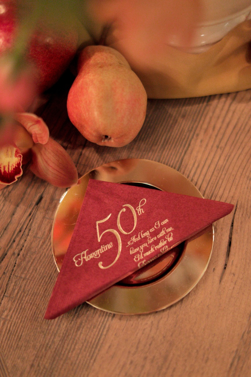 florence italy 50th anniversary cocktail napkins burnt sienna napkins with gold embossing