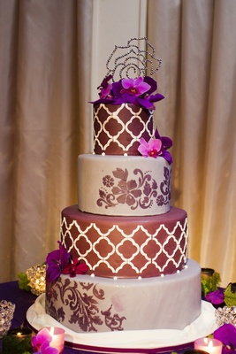 Purple lattice pattern wedding cake with crystal topper