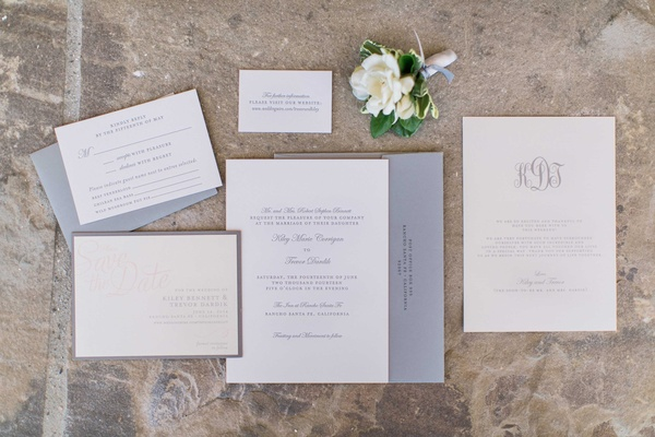 Neutral wedding invite suite with grey and white colors and monogram