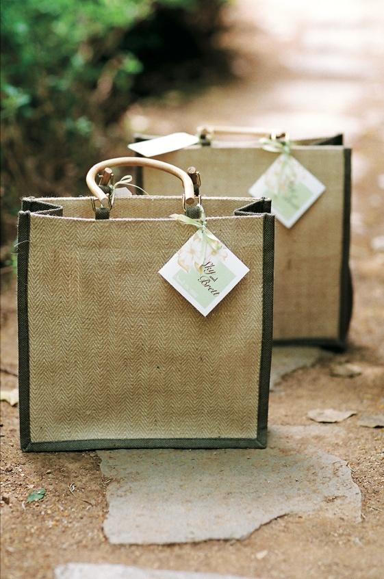 Jute burlap wedding gift bag with wood handles