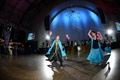 Traditional Indian dancers in blue attire at reception