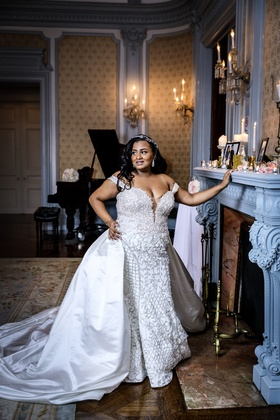 bride in stephen yearick wedding dress with silk overskirt, beaded fitted gown, off-the-shoulder
