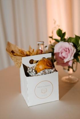 wedding favor in custom box burgers and french fries cheerwine soda local wedding favor