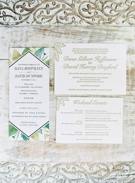 Wedding invitation gold palm motif and ceremony program green palm frond design mexico wedding
